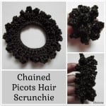 Chained Picots Hair Scrunchie ~ Rhelena - CrochetN'Crafts