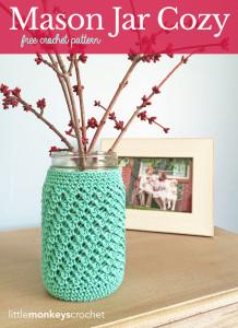 Mason Jar Cozy ~ Rebecca Langford - Little Monkeys Crochet