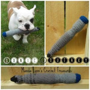 Sonic Squeaky Dog Toy ~ Manda Proell - MandaLynn's Crochet Treasues