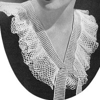 V Neck Double Frill Pattern #259 ~ Free Vintage Crochet