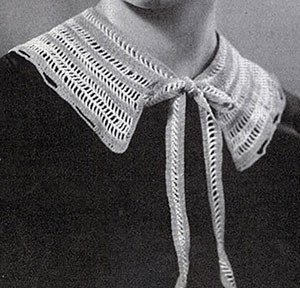 Striped Collar with Ties ~ Free Vintage Crochet