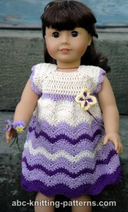 American Girl Doll Wisteria Chevron Dress ~ ABC Knitting Patterns