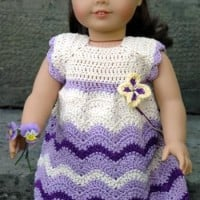American Girl Doll Wisteria Chevron Dress ~ ABC Knitting Patterns