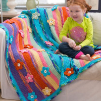 Stripes & Flowers Throw ~ Katherine Eng - Red Heart Yarns