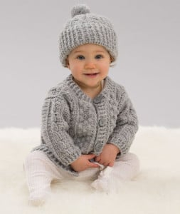 Aran Stitch Cardigan & Hat ~ Heather Lodinsky - Red Heart
