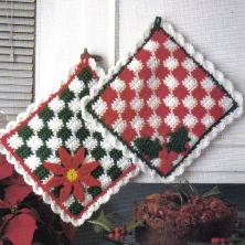 Christmas Checkered Hot Pads ~ MomsLoveOfCrochet