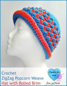ZigZag Popcorn Weave Hat with Rolled Brim ~ Crochet For You