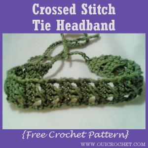 Crossed Stitch Tie Headband ~ Oui Headband