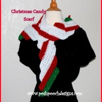 FREE crochet pattern for a Candy Cane Christmas Scarf by Posh Pooch Designs.