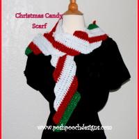 Candy Cane Christmas Scarf ~ Sara Sach – Posh Pooch Designs