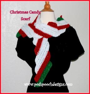 Candy Cane Christmas Scarf ~ Sara Sach - Posh Pooch Designs