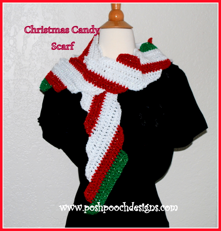 Free Crochet Patterns For Christmas Scarves : Candy Cane Christmas Scarf ~ FREE Crochet Pattern