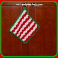 Christmas Candy Stripe Wash Cloth ~ Sara Sach - Posh Pooch Designs