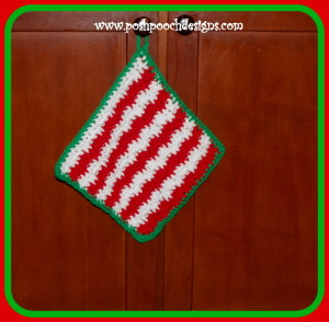 Christmas Candy Stripe Wash Cloth ~ Sara Sach - Posh Pooch Designs