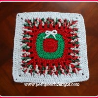 Christmas Wreath Afghan Square ~ Sara Sach – Posh Pooch Designs