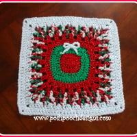 Christmas Wreath Afghan Square ~ Sara Sach – Posh Pooch Designs