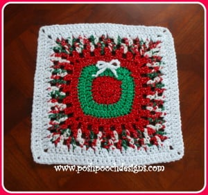 Christmas Wreath Afghan Square ~ Sara Sach - Posh Pooch Designs