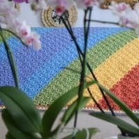 Diagonal Rainbows Baby Blanket ~ Marie Segares/Underground Crafter