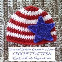 Star and Stripes Beanie in 3 Baby Sizes ~ EyeLoveKnots