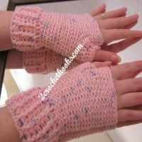 Ridged Cuff Fingerless Gloves ~ 2 Crochet Hooks - Oombawka Design