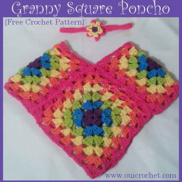 Granny Square Poncho Free Crochet Pattern