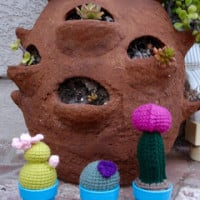 Round Cactus with Flower ~ Free Patterns by H