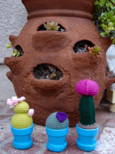 Mini Crocheted Cactus Garden ~ Free Patterns by H