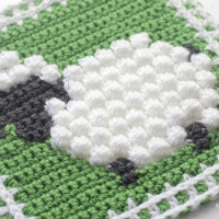 Crochet Bobble Stitch Sheep Square ~ Repeat Crafter Me