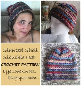 Slanted Shell Adult Slouchie Hat ~ EyeLoveKnots