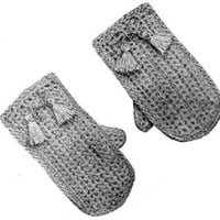 Child's Crochet Mittens ~ Free Vintage Crochet