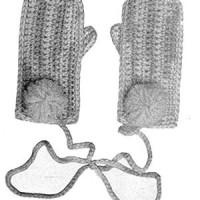Childs Crochet Mittens ~ Free Vintage Crochet