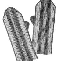 Girls Striped Crochet Mittens ~ Free Vintage Crochet