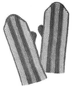 Girls Striped Crochet Mittens ~ Free Vintage Crochet