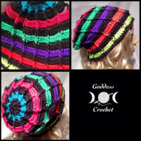 Ribbed Ladder Slouchy Beanie ~ Goddess Crochet