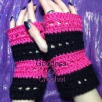 """The Nikki Wristers"" Fingerless Gloves ~ Goddess Crochet"
