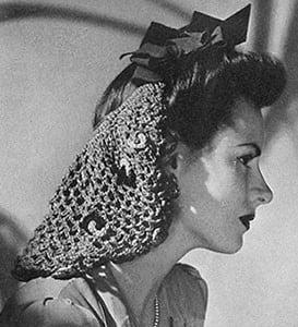 Bow Snood ~ Free Vintage Crochet
