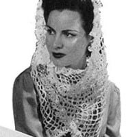 White Crocheted Shawl ~ Free Vintage Crochet