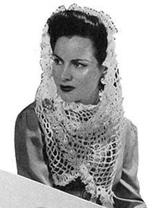 White Crocheted Shawl ~ Free Vintage Crochet
