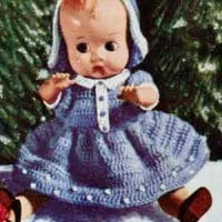 Christmas Doll with Blue Dress - Free Vintage Crochet