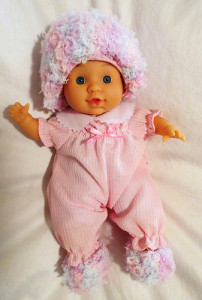 Baby Doll Fun Fur Hat & Booties ~ My Recycled Bags