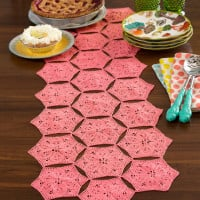 Flower and Fan Table Runner ~ Red Heart