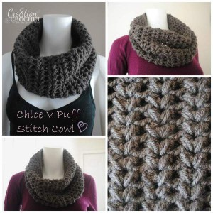 Chloe V Puff Stitch Cowl ~ Cre8tion Crochet