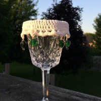 Lacy Beaded Wine Glass Cover ~ Oombawka Design