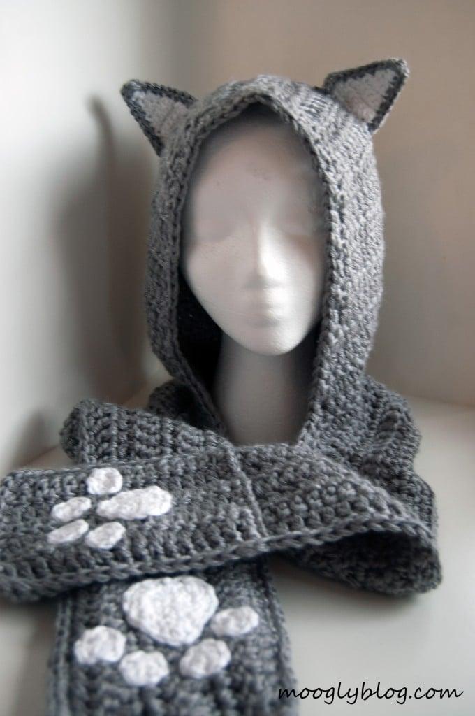 Crochet hooded scarves free crochet patterns crochet pattern bonanza cuddly cat crochet scoodie moogly dt1010fo