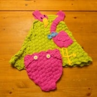 Flamingo Baby Dress & Diaper Cover ~ Crochet Parfait