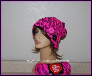 Pinky Crossover Slouch Hat ~ Sara Sach - Posh Pooch Designs