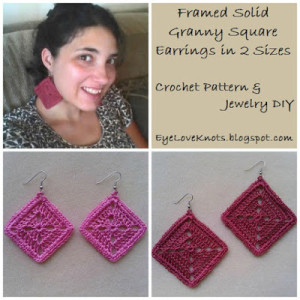 Framed Solid Granny Square Earrings in 2 Sizes ~ EyeLoveKnots