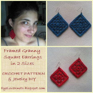 Framed Granny Square Earrings in 2 Sizes ~ EyeLoveKnots