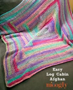 Easy Log Cabin Afghan ~ Moogly