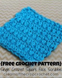 Single Crochet Square Face Scrubbie ~ Cream Of The Crop Crochet